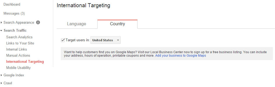 Internationale targeting in Google Search Console